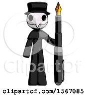 Black Plague Doctor Man Holding Giant Calligraphy Pen