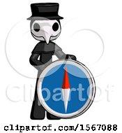 Black Plague Doctor Man Standing Beside Large Compass