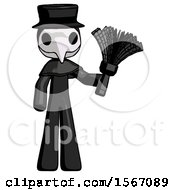 Black Plague Doctor Man Holding Feather Duster Facing Forward
