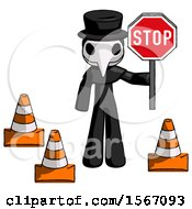 Black Plague Doctor Man Holding Stop Sign By Traffic Cones Under Construction Concept