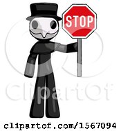 Black Plague Doctor Man Holding Stop Sign