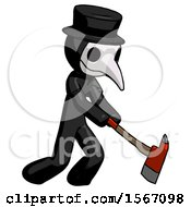 Black Plague Doctor Man Striking With A Red Firefighters Ax