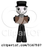 Poster, Art Print Of Black Plague Doctor Man Reading Book While Standing Up Facing Viewer