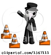 Black Plague Doctor Man Standing By Traffic Cones Waving