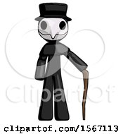 Black Plague Doctor Man Standing With Hiking Stick