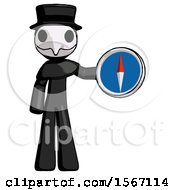 Black Plague Doctor Man Holding A Large Compass