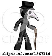 Black Plague Doctor Man Walking With Hiking Stick