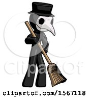 Black Plague Doctor Man Sweeping Area With Broom