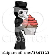 Black Plague Doctor Man Holding Large Cupcake Ready To Eat Or Serve