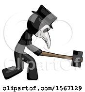 Black Plague Doctor Man Hitting With Sledgehammer Or Smashing Something