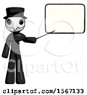 Black Plague Doctor Man Giving Presentation In Front Of Dry Erase Board