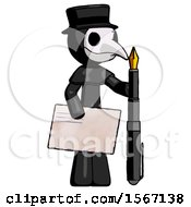 Black Plague Doctor Man Holding Large Envelope And Calligraphy Pen