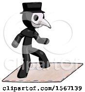 Black Plague Doctor Man On Postage Envelope Surfing