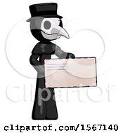 Black Plague Doctor Man Presenting Large Envelope