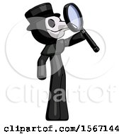 Black Plague Doctor Man Inspecting With Large Magnifying Glass Facing Up