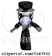 Black Plague Doctor Man Looking Down Through Magnifying Glass