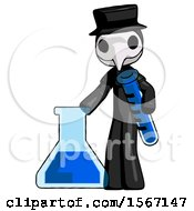 Black Plague Doctor Man Holding Test Tube Beside Beaker Or Flask