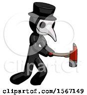 Black Plague Doctor Man With Ax Hitting Striking Or Chopping