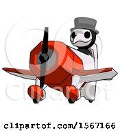 Black Plague Doctor Man Flying In Geebee Stunt Plane Viewed From Below