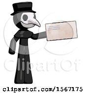 Black Plague Doctor Man Holding Large Envelope
