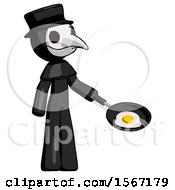 Black Plague Doctor Man Frying Egg In Pan Or Wok Facing Right