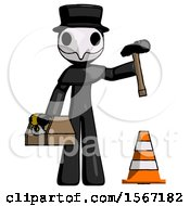 Black Plague Doctor Man Under Construction Concept Traffic Cone And Tools
