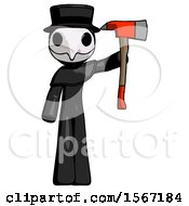 Black Plague Doctor Man Holding Up Red Firefighters Ax