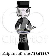 Black Plague Doctor Man Serving Or Presenting Noodles