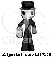Black Plague Doctor Man Begger Holding Can Begging Or Asking For Charity