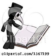 Poster, Art Print Of Black Plague Doctor Man Reading Big Book While Standing Beside It