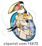 Blond Male Pirate With A Goatee, Shiny Teeth, Hoop Earring And Ring Through His Nose, Grinning As A Toucan Bird Sits On His Head