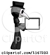 Black Plague Doctor Man Show Tablet Device Computer To Viewer Blank Area