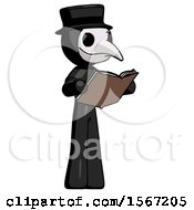 Poster, Art Print Of Black Plague Doctor Man Reading Book While Standing Up Facing Away