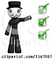 Black Plague Doctor Man Standing By List Of Checkmarks