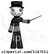 Black Plague Doctor Man Teacher Or Conductor With Stick Or Baton Directing