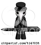 Black Plague Doctor Man Weightlifting A Giant Pen