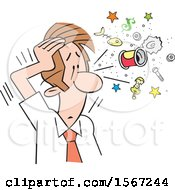 Clipart Of A Cartoon Business Man Clearing His Head Royalty Free Vector Illustration by Johnny Sajem