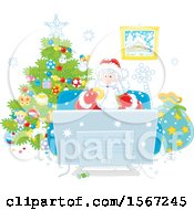 Clipart Of Santa Enjoying A Snack While Watching Tv On Christmas Eve Royalty Free Vector Illustration