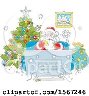 Clipart Of Santa Claus Enjoying A Snack While Watching Tv On Christmas Eve Royalty Free Vector Illustration by Alex Bannykh