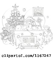 Clipart Of A Lineart Santa Enjoying A Snack While Watching Tv On Christmas Eve Royalty Free Vector Illustration