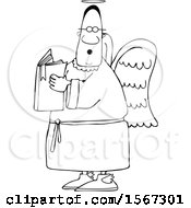 Clipart Of A Lineart Black Male Angel Holding A Book Royalty Free Vector Illustration
