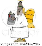 Clipart Of A Black Male Angel Holding A Book Royalty Free Vector Illustration