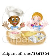 Cartoon Happy Black Boy And White Girl Baking Star Shaped Cookies