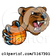 Mad Grizzly Bear Mascot Holding Out A Football In A Clawed Paw