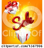 3d Red Sale Sign Popping Out Of A Gift Box On Orange