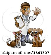 Black Male Veterinarian Waving And Holding A Clipboard Standing With A Dog And Cat