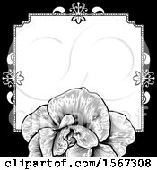 Poster, Art Print Of Black And White Border Or Wedding Invitation With A Rose
