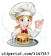 Clipart Of A Happy White Female Chef Gesturing Perfect And Holding A Cheese Burger On A Tray Royalty Free Vector Illustration