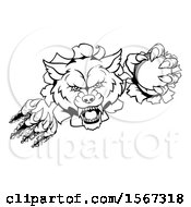 Clipart Of A Black And White Wolf Slashing Through A Wall With A Cricket Ball Royalty Free Vector Illustration