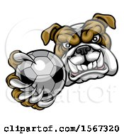 Clipart Of A Tough Bulldog Monster Mascot Holding Out A Soccer Ball In One Clawed Paw Royalty Free Vector Illustration